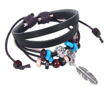 Harga Leegoal Bohemian Feather PU Leather Bracelet Adjustable Wirstaband,Black