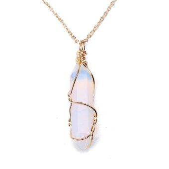 Harga Gemstone Natural Crystal Quartz Healing Point Chakra Stone Pendant for Necklace opal stone - intl