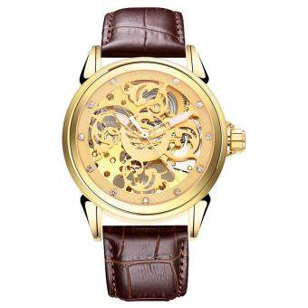 Harga SOBUY Sewor Famous Brand Luxury Casual Skeleton Mechanical Watch Men Dress Gold Wristwatch Leather Band Hand-Winding Male Watches (Gold)