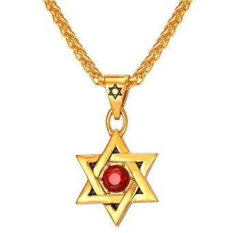Harga U7 Rhinestone Star of David Pendant Necklace 18K Real Gold Plated Jewelry Fashion Accessories Men Necklace (Gold)