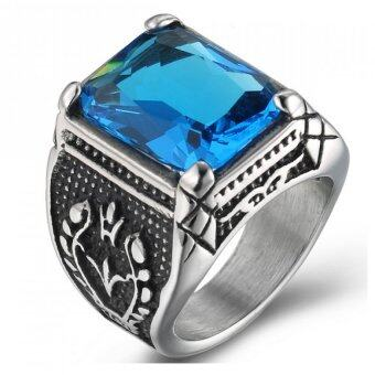 Harga Pudding Men's domineering titanium steel rings inlaid gemstone Blue - intl