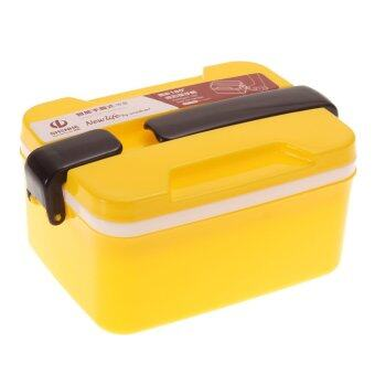 Harga 2Layer Microwave Handle Bento Lunch Box Picnic Food Container (Yellow)
