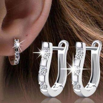 Harga BUYINCOINS Fashion Women Silver Plated Crystal Hoop Earrings Gemstones Ear Stud Jewellery - intl