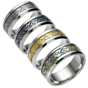 Harga Jewelry Wholesale Dragon Ring Silver Dragon Piece Stainless Steel Ring Can Be Tungsten Steel - intl