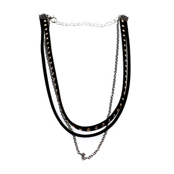 Harga BolehDeals Punk Lady Gothic Multi-layer Black Leather Choker Rivet Necklace - Intl