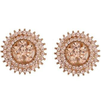 Harga One Zero One Gemstone jewelry fashion silver plated setting diamond flower shape earrings for wedding gift - Intl