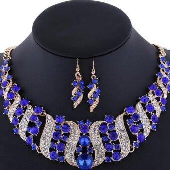 Harga Missing U Gold Plated Gemstone & Crystal Women's Vintage Wedding Party Rhinestone Necklace & Earrings Jewelry Sets - intl