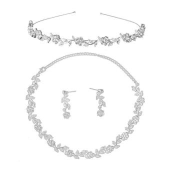 Harga Bridal Wedding Rhinestone Decorated Floral Jewelry Set Tiara Necklace Earrings (Silver) - Intl