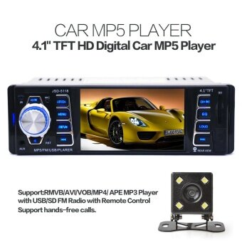Harga 5118 Bluetooth 4.1 Inch 1 Din 50W x 4CH HD Car Stereo Radio MP3 MP5 Player Support USB / FM / TF / AUX with Rearview Camera - intl