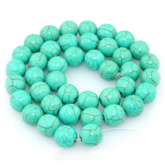 Harga Vanker 4MM Natural Stabilized Round Turquoise Gemstone Beads Strand Findings Charms()