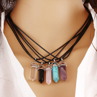 Harga Natural Quartz Crystal Stone Point Chakra Healing Gemstone Pendant Necklace Gift - INTL