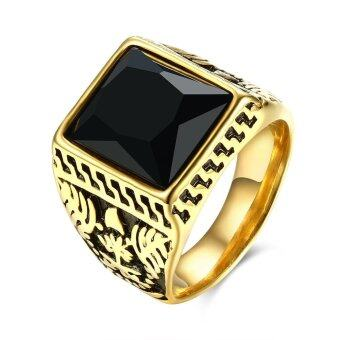Harga Men's Vintage 18K Gold Ring with Pattern-Black Gemstone