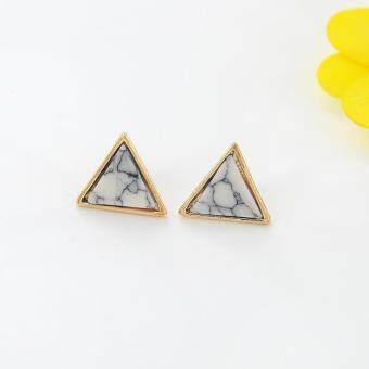 Harga Stud Earrings Women Gorgeous White Triangles Earring Imitation Marble Stone Earring Fashion Jewelry Gem accessories-White,Triangle - intl