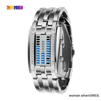 Harga SKMEI 2017 popular Brand Men fashion creative Watches digital LED display 30M waterproof lover's Wristwatches quality alloy band 0926 - intl