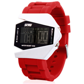 Harga Hot SKMEI 0817 Aircraft Shape Originality Design Fashion LED Jelly Color Waterproof Watch(red)