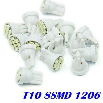Harga 10X8SMD T101210 smd 4 Led Lights Car Bulbs 194 168 501 W5W Wedge Tail White - intl