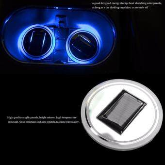 Harga 2x Car Solar Cup Holder Bottom Pad LED Light Cover Trim Atmosphere Lamp Lights - intl