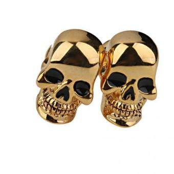 Harga MagiDeal Copper Skull Cufflinks Cuff Links Jewelry Birthday Favor Gift 1Pair Golden - intl