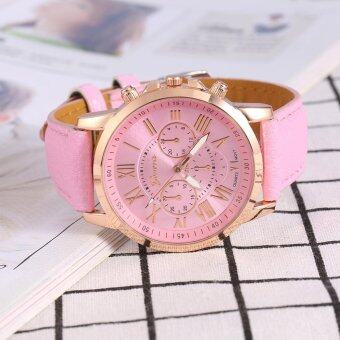 Harga Lady Analog Quartz PU Leather Band Round Numeral Watch Pink - intl