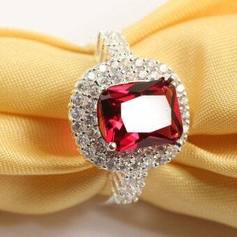Harga Women's Ruby Gemstone Ring Crystal Diamond Ring For Wedding Party(Red 8)-intl