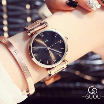 Harga Guou Brand Woman Quartz Watches Full Rose Gold Steel band Business Casual Japan Lady Clock Wristwatches(black) - intl