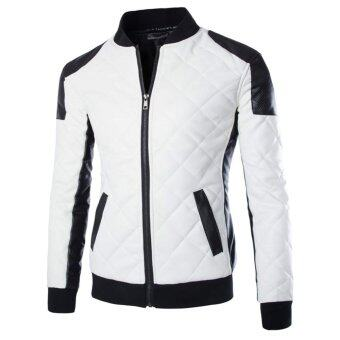 Harga Men's motorcycle leather jacket coat