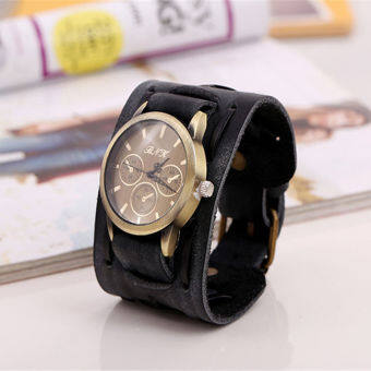 Harga Style Retro Punk Rock Brown Big Wide Leather Bracelet Cuff Men Watch Cool Black