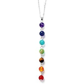 Harga 7 Chakras Gemstone Yoga Reiki Prayer Necklace Healing Energy Balance Jewelry with Multi Color Bead Pendant - intl