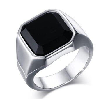 Harga Hequ Gent s Jewelry Vintage Rings Stainless Steel Ring Man s Black Onyx Gemstone - intl