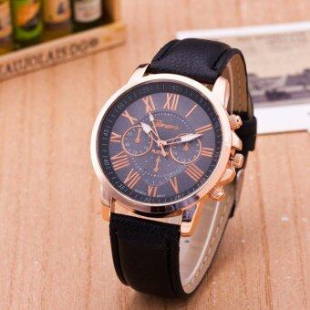 Harga Fashion PU Leather Band Round Analog Quartz Watch Women Lady Wristwatch Black - intl