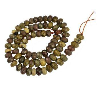 Harga MagiDeal 5x8mm Grass Flower Stone Jasper Faceted Rondelle Gemstone Loose Bead 15Inch - intl