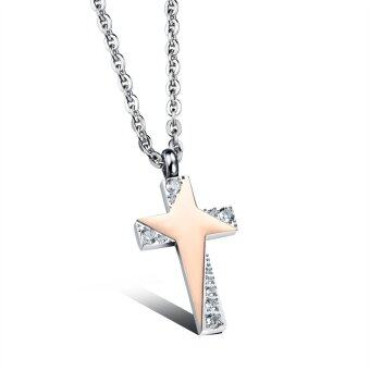 Harga ZUNCLE Twinkling Stars Personality Cross Couple Necklace(Rose Gold)