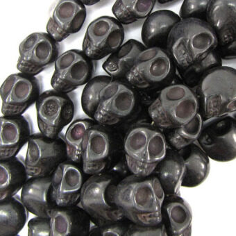 Harga 30pcs 13mm Black Turquoise Gemstone Carved Skull Bone Beads Jewelry Making - intl
