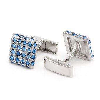 Harga Kemstone Silver Plated Rectangular Cufflinks Crystal Accented Jewelry - intl