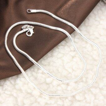 Harga Stunning 925 Sterling Silver 3MM Classic Snake Necklace Chain Fashion Style 20'' - intl