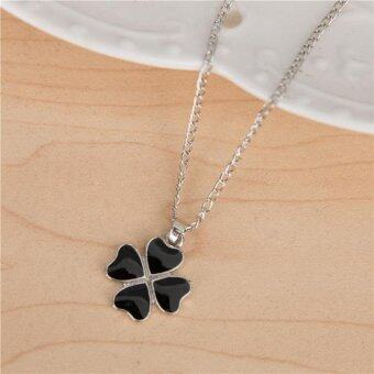 Harga Clover Heart-shaped Necklace Female Clavicle Chain- Black - intl