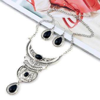 Harga Black Vintage Boho Jewelry Set Multilayer Alloy Gemstone Pendant Bib Statement Necklace and Earrings Set Women Fashion - intl
