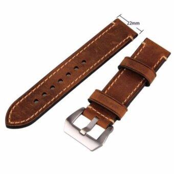 Harga Brown 22mm Genuine Leather Wristwatch Watch Band Watchband Stainless Buckle - intl