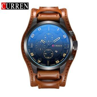 Harga CURREN 8225 Original Brand Men's Sports Round Analog Wrist Watch Faux Leather Band Date Watch For Men - intl