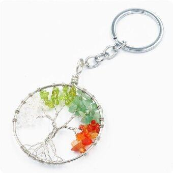 Harga Natural Amethyst Tree Of Life Quartz Pendant Keychain Tibet Gemstone Chips Key Ring-Multicolor - intl