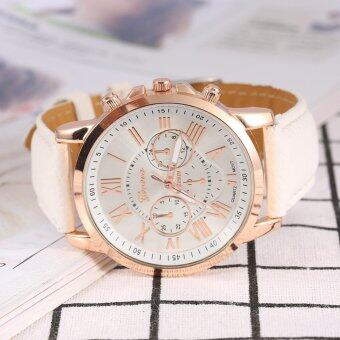 Harga Lady Analog Quartz PU Leather Band Round Numeral Watch White - intl