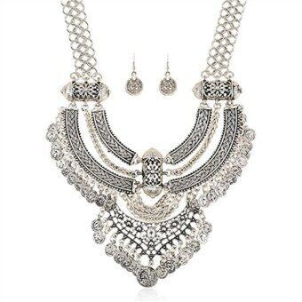 Harga Fashion Jewelry Set Necklace And Earrings Of Silver Rhinestone Crystal For Wedding Bridal Party Prom (Silver) - intl