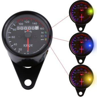 Justgogo Universal Motorcycle Odometer Speedometer with LED Backlight (Black)