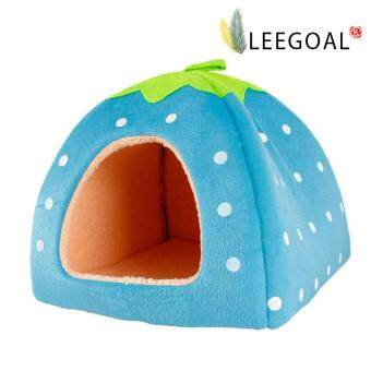 Leegoal Blue Strawberry Pet House Bed With Warm Plush Pad (L)