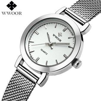 Luxury Women Watches Ladies Casual Quartz Watch Female Clock SilverStainless Steel Watch(White ) - intl