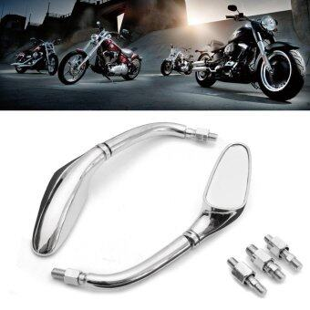 Pair Chrome Streamline Motorcycle Rearview Side Mirrors For Harley - intl