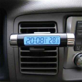 Portable New 2 in 1 Car Auto LCD Display Clip-on Digital BlueBacklight Thermometer Time Clock - intl