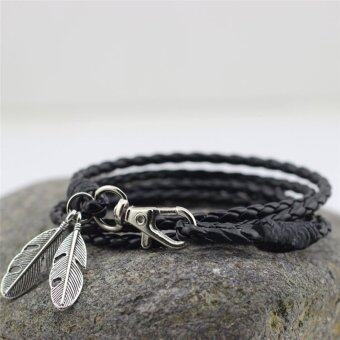 PU Leather Feather Men Charm Bracelets Bangles Fashion Jewelry Accessories Black - intl