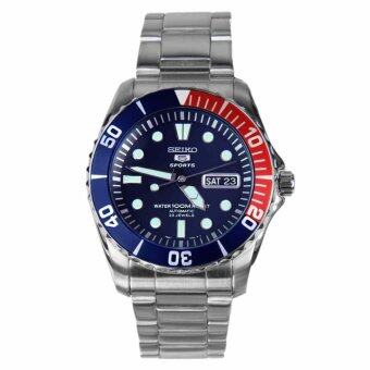 Seiko 5 นาฬิกาข้อมือผู้ชาย Blue Dial Stainless Steel Automatic SNZF15K1
