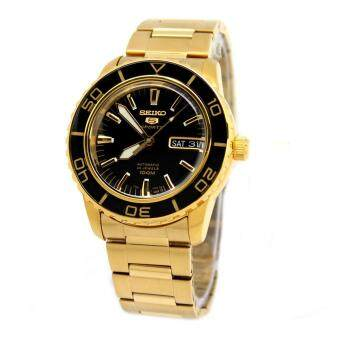Seiko Watch 5 Sports Gold Stainless-Steel Case Stainless-Steel Bracelet Mens NWT + Warranty SNZH60K1